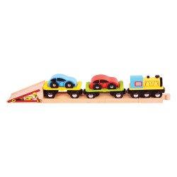 Auto-transporttrein en extra spoor