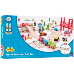 Treinset landelijk met wegen